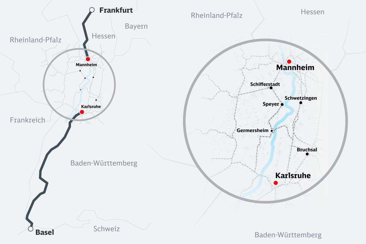 Das Bahnprojekt Mannheim-Karlsruhe in der geografischen Übersicht